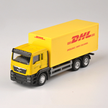 Diecast Truck 1:64 Scale Express DHL Truck Model Yellow Container Transporter Kids Toys Collection Gift