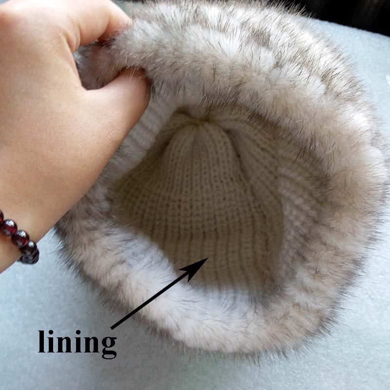 mink fur pineapple hat lining