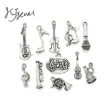 Mixed Tibetan Silver Plated Music Note Guitar Trumpet Tape Charms Pendants for Bracelet Necklace Jewelry Making Accessories DIY