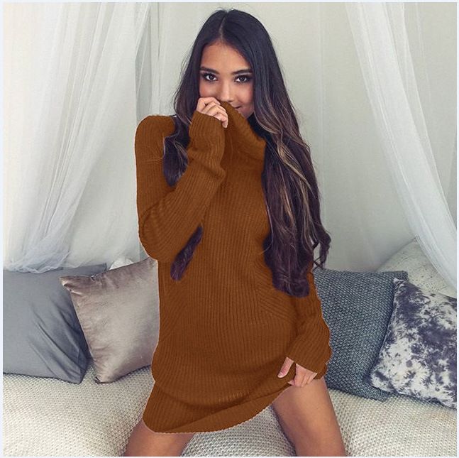 Turtleneck Long knitted pullover sweater, Women's Jumper, Casual Sweater 36