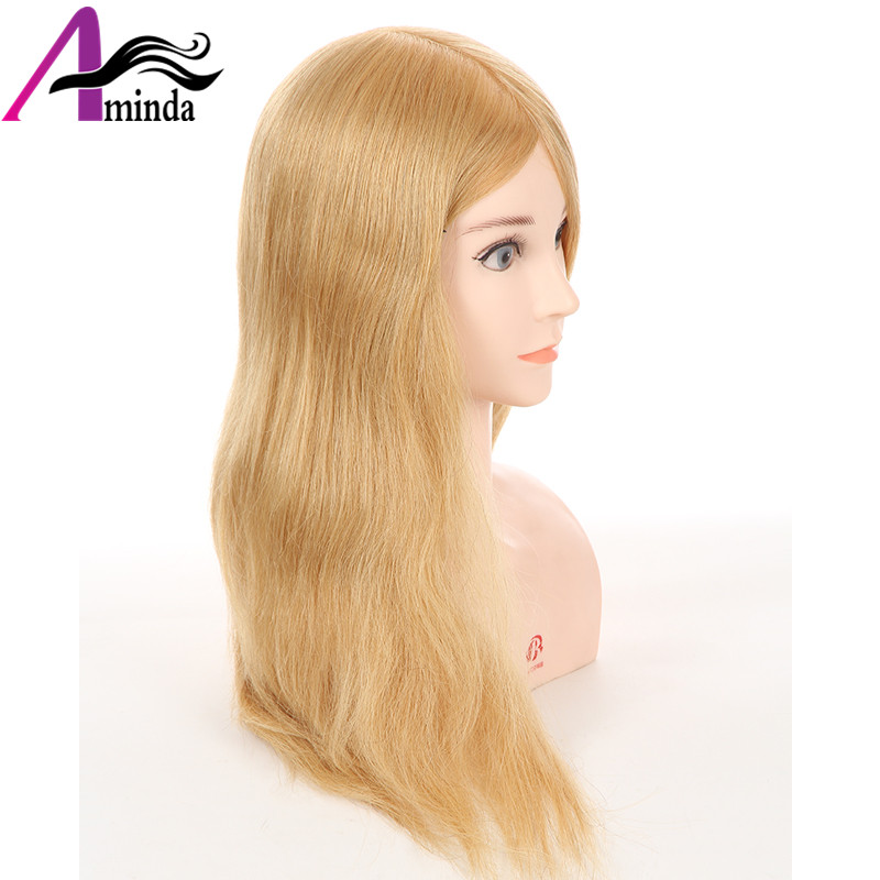 46CM Golden Blonde Hair Styling Dolls Heads Hairdressing Mannequin Head With 100%Real Human Hair Dummy For Hairstyles (7)
