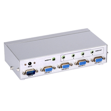 VGA Splitter 1x4 VGA Audio Splitter 350MHz 1 input to 4 output display on 4 monitors support 1920x1440 with power adapter