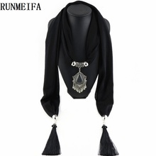 [RUNMEIFA] New Charms winter Scarf Necklaces tassel national Pendant scarf Necklaces Women Scarf Necklaces Jewelry Wholesale