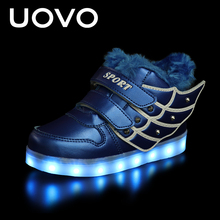 UOVO Warm Luminous Shoes Kids LED Light Up Shoes Flash Light Sole Comfortable Boy and Girls Sneakers for Eur Size 25-37#(China)
