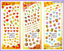 3 PACKS / LOT GOLD AUTUMN MAPLE LEAF NAIL CROSS TATTOOS STICKER WATER DECAL NAIL ART HOT328-330