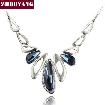 Qualidade superior de Luxo Banhado A Ouro de Cristal Azul Colar Pingente Partido Jóias de Cristal Austríaco Atacado ZYN571 ZYN572