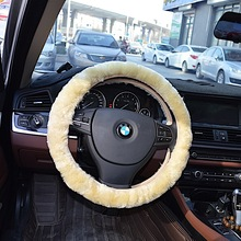 1Pcs Free Shipping Patchwork Sheepskin Wheel Cover Wood Steering Wheel Cover(China)
