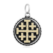 Skyrim 20pcs/lot Compound Religious Cross Dangle Round Stainless Steel Charm For Necklace&Bracelets DIY Jewelry Making For Gift(China)