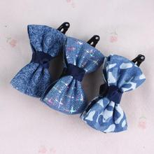 Fashion college style women's denim print bow hair gripper young girl's hairs claws clip hairpin gum hair accessory(China)
