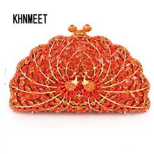 LaiSC Crystal Clutches Evening Bags Women Diamond Party Purse Ladies Holiday stylish Handbags orange peacock Clutch Bag SC444(China)