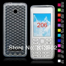Free shipping DHL ,  for Nokia 206 Latest Diamond Style Soft Gel TPU Resin Skin Back Cover Case,500pcs/lot