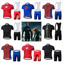 cycling jersey 2017 pro team spiderman cycling clothing ropa ciclismo hombre Captain America Superhero batman MTB bike clothing(China)