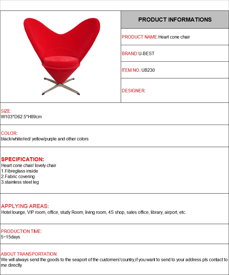 Vitra Heart Cone Chair by Verner Panton