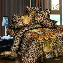 New 3D print Wolf Leopard Tiger Lion Panda Flower Bedding sets duvet cover bed set pillowcase Queen size 4pcs Dorp shipping(China)