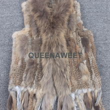 602c8213e69 Rabbit Vest 100% Real Classical Knitted Rabbit Fur Vest Gilet with Raccoon  Fur Collar And · 18 Colors Available