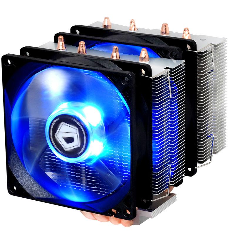 Dual-fan, 4pin PWM fan, Blue LED, TDP 150W cooling for Intel for AMD, CPU cooler fan radiator,  ID-Cooling SE-904TWIN<br>