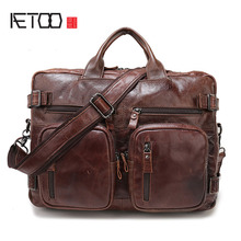 AETOO Europe and the United States retro male package oil wax leather men's business travel bag leather portable Messenger bag b