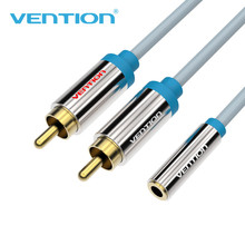 Vention Male RCA Audio Cable to Jack Female Aux Video Cable one point double lotus 3.5mm Jack to 2 RCA Audio Cable for car/PC/TV
