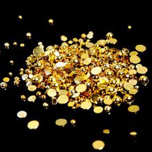 2-5mm And Mixed Sizes Gold Resin Half Round Craft ABS Nail Pearls Beads For Nails Art Design decoration Nails Decorative Pearls