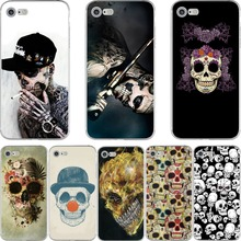Skull Phone Cases Floral Stained Skeleton Silicon tpu Transparent Coque Fundas for iphone 6 6s 6splus 5 5s se 7 7plus Back Cover