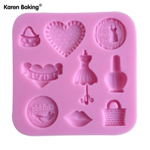 Beautiful Dress, Purse Shape 3D Silicone Chocolate Tools, DIY Cake Decoration, Jelly Silicone Fondant, Hotplate C077(China)
