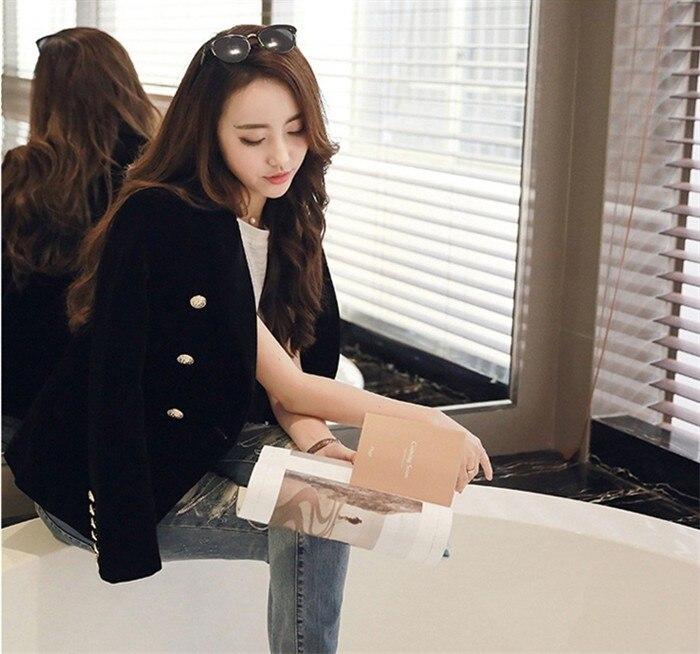 2016 New Spring Fashion Women Midnight Navy Slim Velvet Blazer Jacket Double Breasted simple Lady Blazers (26)