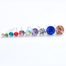 LNRRABC 20 Pairs/pack 2016 Korean Women Fashion Jewelry Rhinestone Crystal Women Piercing Stud Earrings Blue Mix Color