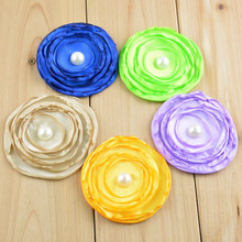 10PCS 15colors 7CM Satin Fabric Rose Flower Without Clip for Baby Girl Toddler Headbands DIY Hand Craft Baby Hair Accessories(China)