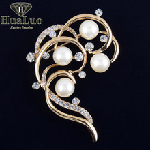 Unique Design Irregular Flower Shape Imitation Pearls Brooch Rhinestone Brooches for women Wedding Boutonniere Pins ZYXW31