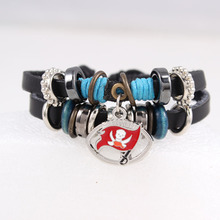 Tampa Bay Buccaneers Personalized Adjustable Black Leather Woven Bracelet American Football Sports Fans Leather Charm Bracelets(China)