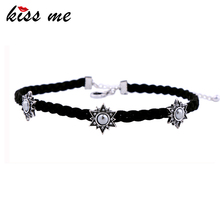 KISS ME Handmade Weave Black Choker Brilliant Crystal Stars Necklaces for Women Jewelry Valentines Gifts