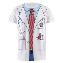 Men Doctor Uniform Costume 3D T Shirt Novelty Fun Cosplay Party Tee(China)