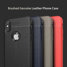 Business style litchi pattern soft tpu solicone copy leather Heat dissipation simplicity style phone case for iphone X Cover(China)