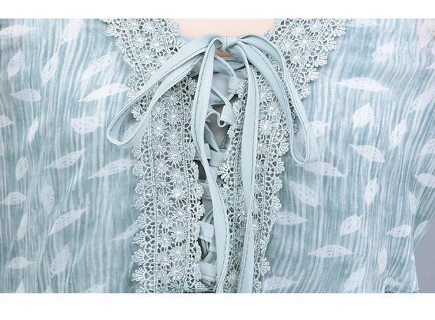 Semfri Blue Printed Chiffon Dress Women Summer Sexy V Neck Short Sleeve Dress Plus Size 5xl Ladies Sweet Clothes Streetwear 2019 14 Online shopping Bangladesh