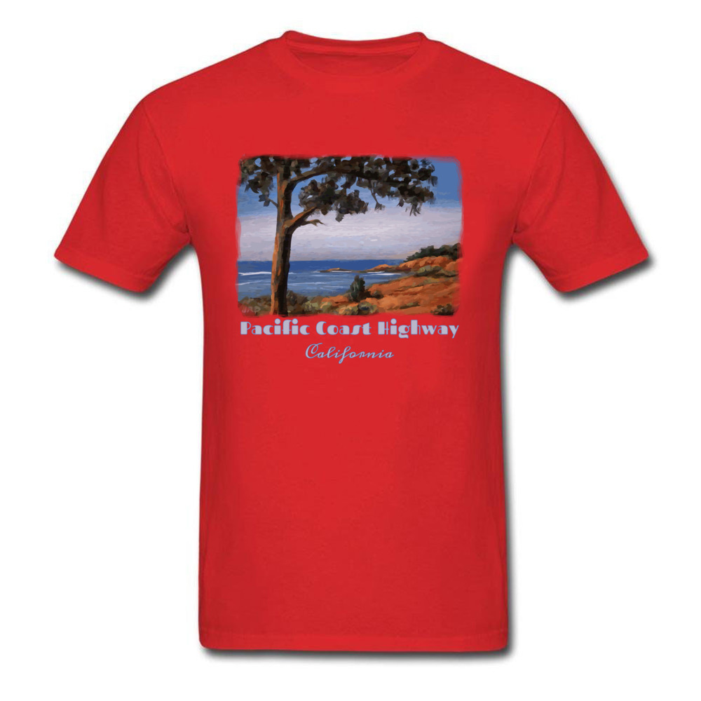 Simple Style Crewneck T Shirts Summer/Fall Tops Tees Short Sleeve Newest Cotton Fabric Printed Tshirts Casual Men Pacific Highway California Highway One Coastal Calif red