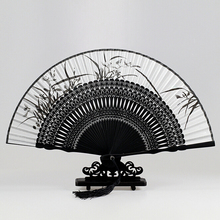 Top Fashion Silk Black Leques Japoneses Ladies Bamboo Folding Hand Fans,Wholesale Personalized Fan of Old Wedding Decoration 5