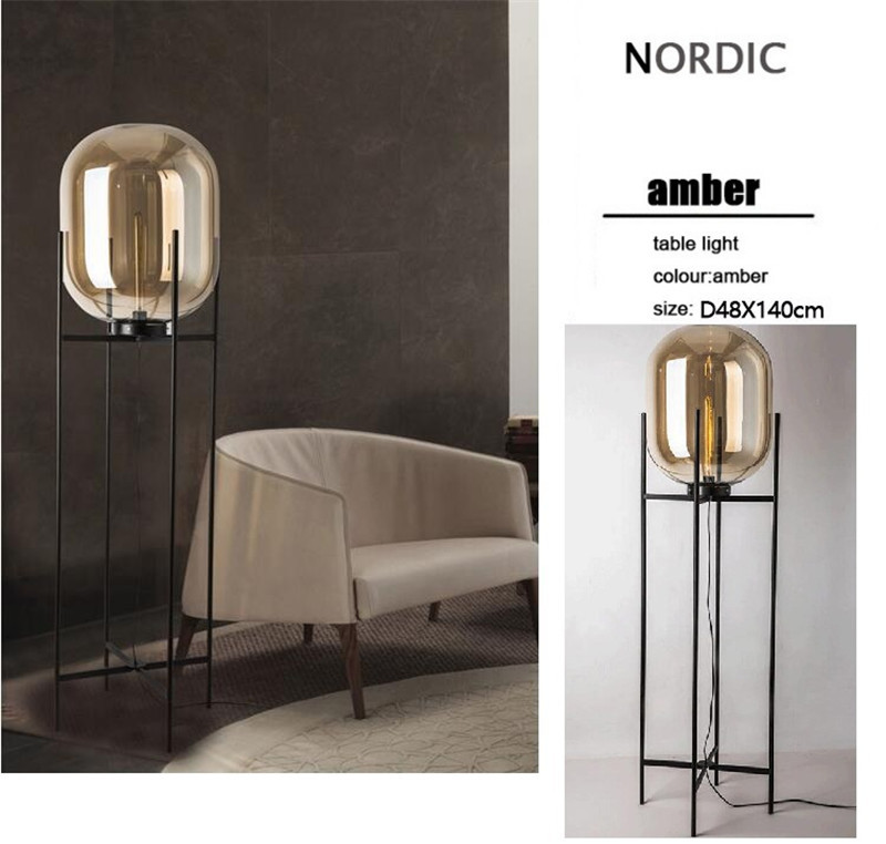 Nordic Style Glass Floor Lamp Retro Melon Floor Lights Fashion Design Glass Table Lamps Lights for Living RoomCountry HouseBar (34)