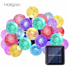 Holigoo Solar Outdoor Crystal Ball String Lights 20ft 30 LED Light String Globe Garland Lamp for Christmas Wedding Decoration