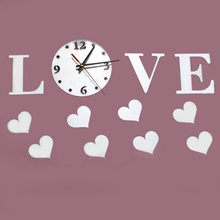 "Modern Design Wall Clock DIY Large ""Love"" Word Pattern Movement Home Decoration 3D Crystal Mirror Living Room"