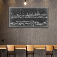 Vintage Navy Cruiser battle ship  line drawing sketch up  chalkboard art printed canvas painting