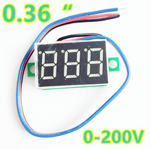 100pcs/lot 0.36Inch 3 wires  DC 0-200V Red LCD Digital Display Voltmeter Panel voltgae volt tester 40%off