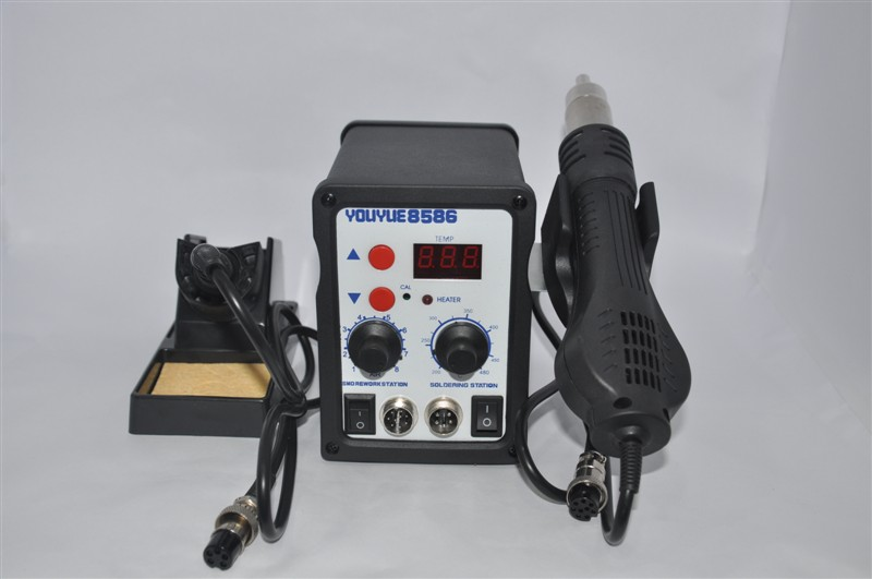 YOUYUE 8586 110V / 220V 700W 2 in 1 SMD Rework Soldering Station Hot Air Gun + Solder Iron handle inductive type led display <br><br>Aliexpress