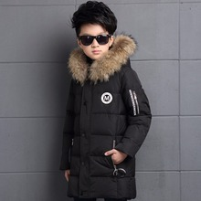 6-12Y Children's Down Jacket Long Thick Boy Winter Coat Duck Down Kids Winter Jackets for Boy Outerwear Fur Collar(China)
