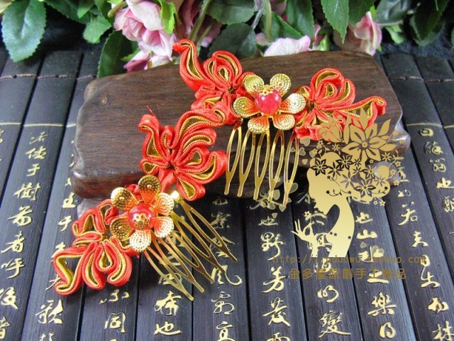 Hongjin Red Satin Bride Wedding Jewelry  Hair Accessory  Hanfu Costume Accessory price for 1set (2 hair combs + 1 pair earrings)<br>
