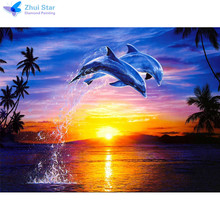 Zhui star 5D DIY diamond embroidery dolphin couple diamond painting Cross Stitch full drill Rhinestone mosaic home decoration