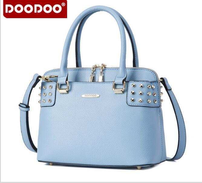 DOOODOO 2017 new rivet handbag shells handbags fashion totes shoulder bag elegant luxury as gift for girls bolsa feminina FR382<br>