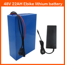 Rechargeable 1000W 48V Lithium ion battery 48V 22AH Electric Bike battery with PVC case 30A BMS 54.6V 2A  charger Free shipping