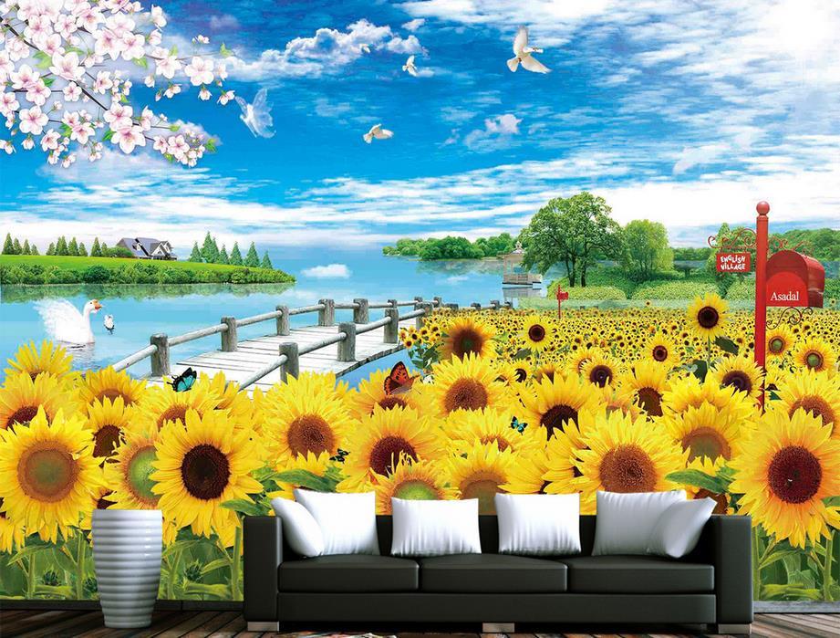 wall murals for living room custom 3d mural wallpaper Sunflower blue sky landscape wallpaper for walls wall papers home decor 3d<br><br>Aliexpress