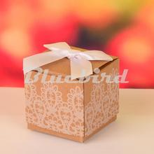 12PCS 5*5*5CM Mini Kraft Paper Wedding Box Gift Boxes For Candy Packaging Present Gift Boxes with Bowknot Wedding Party Favors