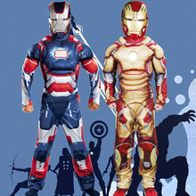 free pp 2017 Halloween party Cosplay Kids ironman muscle cosplay Costume iron man Fancy Dress with mask Carnival party costume